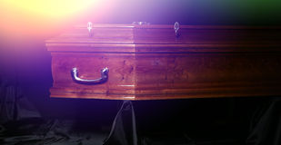 Brown coffin, close-up view Royalty Free Stock Photo