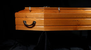 Brown coffin, close-up view stock images