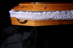 Brown coffin, inside close-up view Royalty Free Stock Images
