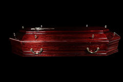 Brown coffin Royalty Free Stock Image