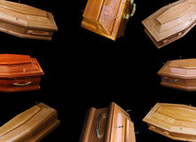 Brown coffins Stock Photo