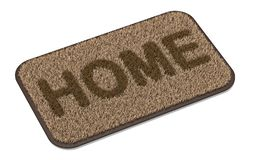 Brown coir doormat with text HOME 3D. Rendering illustration isolated on white background vector illustration