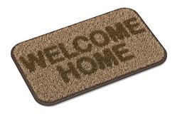 Brown coir doormat with text WELCOME HOME 3D. Rendering illustration isolated on white background vector illustration
