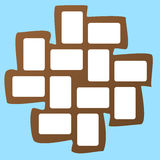 Brown collage photo frame on light blue background Royalty Free Stock Photos