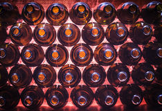 Brown color bottles background. Closeup stack of brown color bottles background Stock Images
