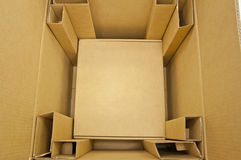 Brown color boxes. Inside brown color boxes packing Stock Images