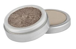 Brown color eyeshadow powder with glitter particles, in round grey open container sitting on its lid, beauty product isolated on. White background stock images