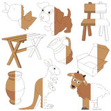 Brown Color Objects, the big kid game to be colored by example half. Brown Color Objects, the big collection coloring book to educate preschool kids with easy royalty free illustration