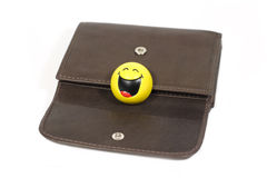 Brown color wallet with funny smile. Brown leather wallet with funny smiles isolated on white Stock Photography
