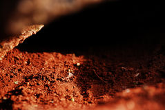 Brown colored soil close up Royalty Free Stock Photography
