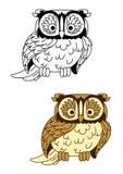 Brown and colorless cartoon owl bird mascot Royalty Free Stock Photos