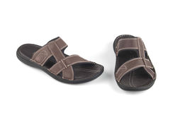 Brown colour leather sandals Stock Photo