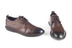 Brown colour leather shoes Royalty Free Stock Photo