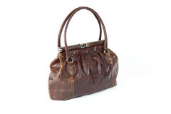 Brown coloured crocodile skin handbag Stock Images