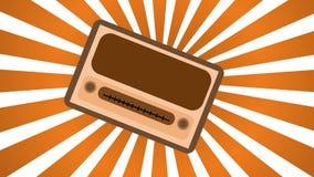 Brown com rádio retangular do moderno do vintage antigo retro velho amarelo o primeiro, receptor de rádio da música com krutelkam Imagem de Stock