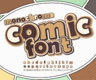 Brown comic font, alphabet. Comics book, pop art. Monochrome chocolate high detail comic font on comic book page. Alphabet in style of comics, pop art stock illustration