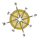 Brown compass rose, inclined. Inclined brown compass rose on a white background. Illustration,  file available Royalty Free Stock Images