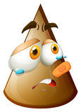 Brown cone with crying face Stock Images
