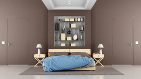 Brown contemporary bedroom Stock Image