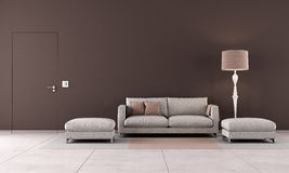 Brown contemporary living room Stock Photography