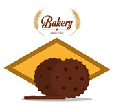Brown coockie of bakery design Stock Images
