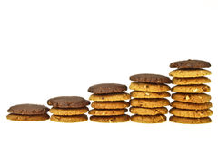Brown cookie line Royalty Free Stock Photography