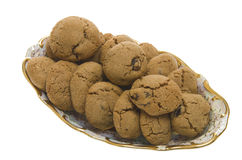 Brown Cookies with raisins Stock Photos