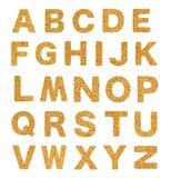 Brown cork alphabet  on white Stock Photography