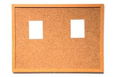 Brown cork board with wood frame and have paper to note. Attachment on white background royalty free stock photos