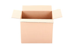 Brown corrugated cardboard box isolated on white Royalty Free Stock Image