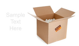 Brown corrugated, cardboard moving box on white Stock Images