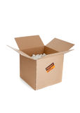 Brown corrugated, cardboard moving box on white Royalty Free Stock Photography