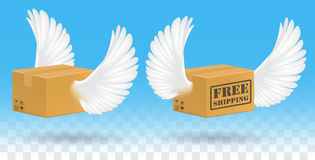 Brown corrugated carton box with bird wing vector illustration