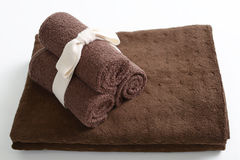 Brown cotton towels Royalty Free Stock Photography