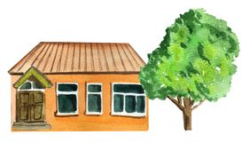Brown country one-story house with a tree. watercolor illustration for design vector illustration