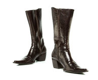 Brown cowboy boots for ladies Royalty Free Stock Images