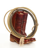 Brown cowboy boots and a Lasso Royalty Free Stock Image