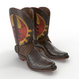 Brown Cowboy Boots with ornamental stitching on white. 3D illustration. Brown Cowboy Boots with ornamental stitching on white background. 3D illustration stock photo