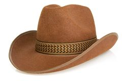 Brown cowboy hat isolated on white Royalty Free Stock Images