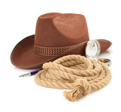 Brown cowboy hat and rope  on white Stock Photography