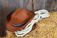 Brown cowboy hat on straw Stock Photos