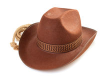 Brown cowboy hat  on white Stock Images