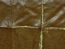 brown crack synthetic leather, background Old leather fabric Old damaged canvas with straight seams royalty free stock images