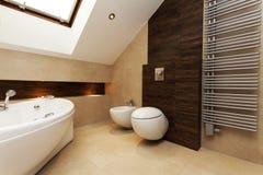 Brown and creamy bathroom. Toilet, bidet and huge washtub in stylish bathroom Royalty Free Stock Photo