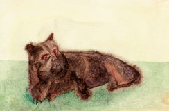 Brown creature watercolor sketch. Watercolor painting of a brown creature with cat ears lying on a green lawn Royalty Free Stock Images