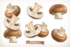 Brown cremini mushroom, vector icon set Stock Photography