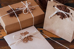 Brown crochet snowflakes for Christmas decoration of gift box an Stock Photography