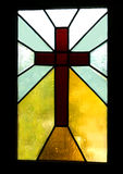 Brown Cross in Stained Glass Stock Photos