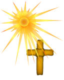 Brown Cross with Sun Rays Stock Photography