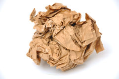 Brown crumpled paper ball Stock Photo